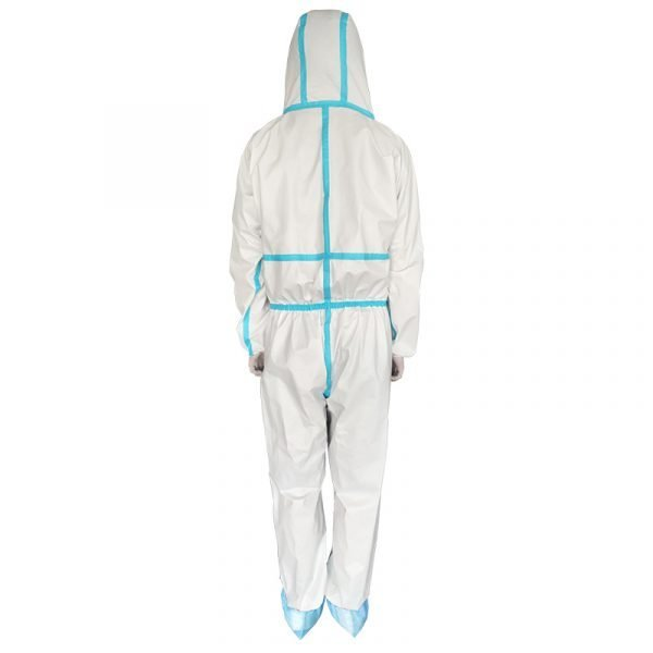 Waterproof Isolation Gown Protective Clothing PP+PE 63gsm